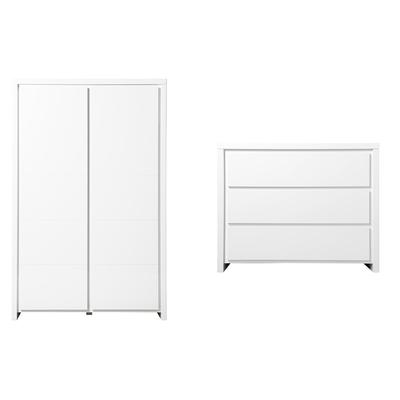 Commode 3 tiroirs et armoire 2 portes XL Bopita Camille - Blanc