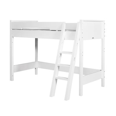 Lit mezzanine 90x200 échelle inclinée Bopita Combiflex - Blanc