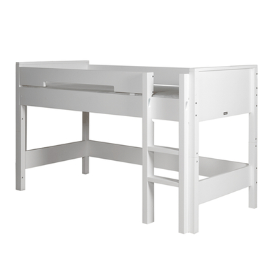 Lit mezzanine mi-hauteur 90x200 échelle droite Bopita Combiflex - Blanc