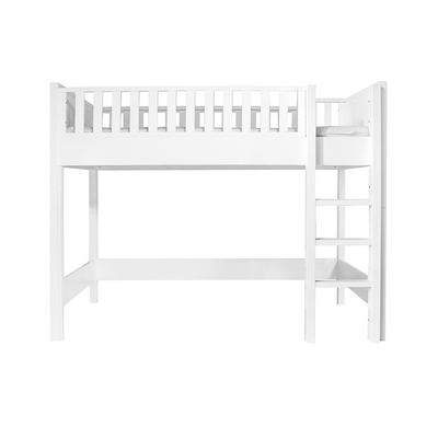 Lit mezzanine 90x200 échelle droite Bopita Nordic - Blanc