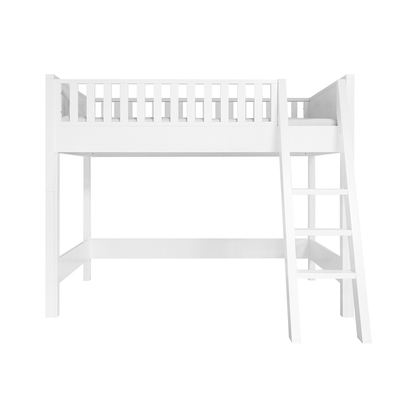 Lit mezzanine 90x200 échelle inclinée Bopita Nordic - Blanc