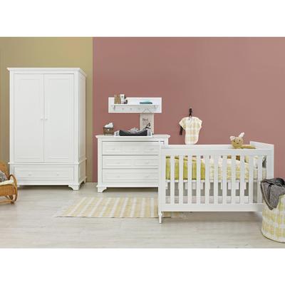 Chambre complète lit bébé 60x120 - commode à langer - armoire 2 portes XL Bopita Charlotte - Blanc