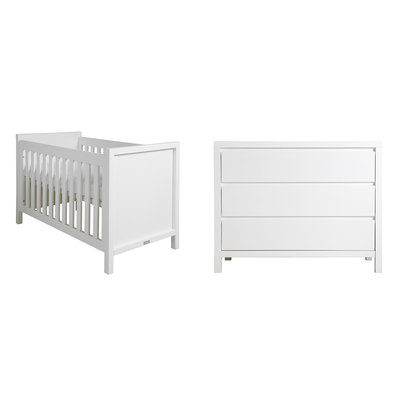 Lit bébé 60x120 et Commode 3 tiroirs Bopita Corsica - Blanc
