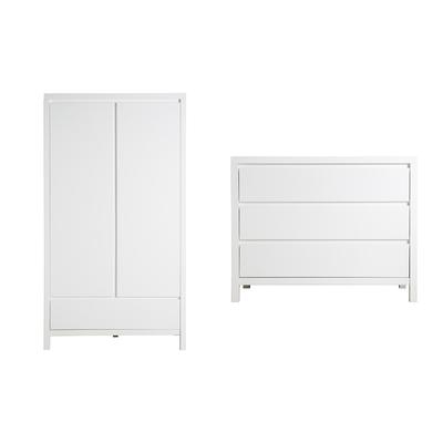 Commode 3 tiroirs et armoire 2 portes XL Bopita Corsica - Blanc