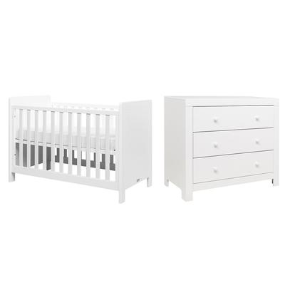 Lit bébé 60x120 et Commode 3 tiroirs Bopita Hugo - Blanc