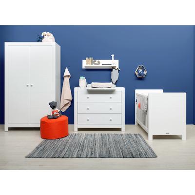 Chambre complète lit bébé 60x120 - commode à langer - armoire 2 portes Bopita Hugo - Blanc