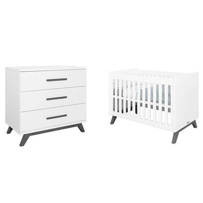 Lit bébé 60x120 et Commode 3 tiroirs Bopita Levi - Blanc et Gris