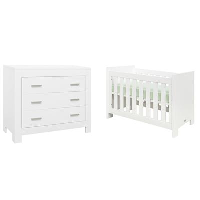 Lit bébé 60x120 et Commode 3 tiroirs Bopita Merel - Blanc
