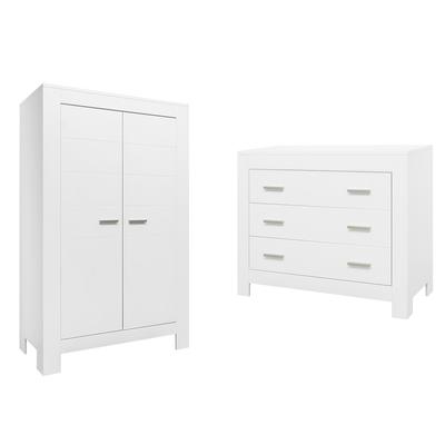 Commode 3 tiroirs et armoire 2 portes Bopita Merel - Blanc