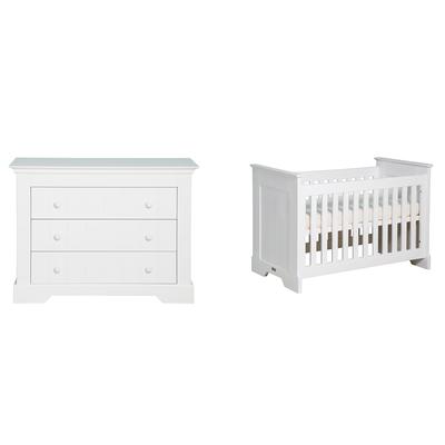 Lit bébé 60x120 et Commode 3 tiroirs Bopita Narbonne - Blanc