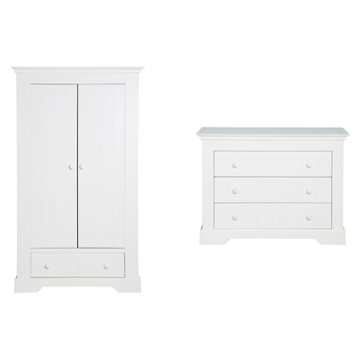 Commode 3 tiroirs et armoire 2 portes Bopita Narbonne - Blanc