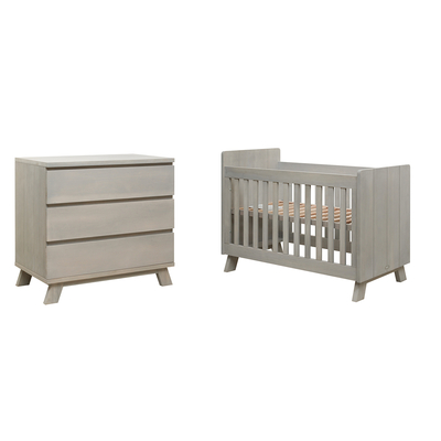 Lit bébé 60x120 et Commode 3 tiroirs Bopita Pebble Wood - Gravel Wash