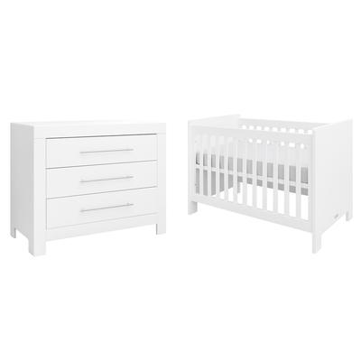 Lit bébé 60x120 et Commode 3 tiroirs Bopita Verona - Blanc