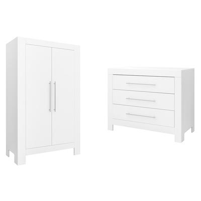 Commode 3 tiroirs et armoire 2 portes Bopita Verona - Blanc
