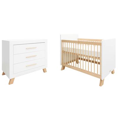 Lit bébé 60x120 et Commode 3 tiroirs Bopita Lisa - Blanc et Naturel