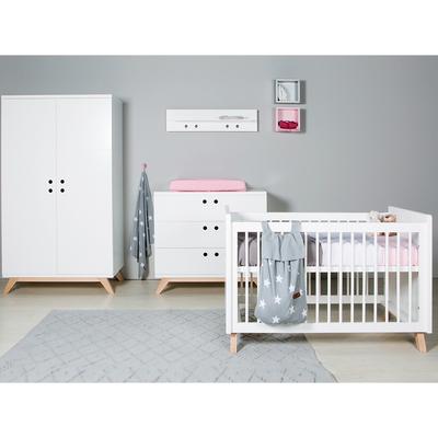 Chambre complète lit bébé 60x120 - commode à langer - armoire 2 portes Bopita Lynn - Blanc et Naturel