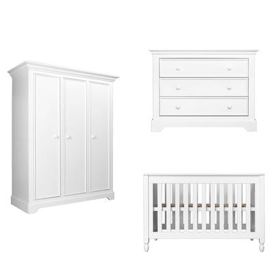 Chambre complète lit bébé 60x120 - commode 3 tiroirs - armoire 3 portes Bopita Victoria - Blanc