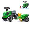 Porteur Falk tracteur Deutz-Fahr avec remorque - pelle et rateau - Vert