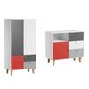 Commode à langer et Armoire 2 portes Vox Concept - Rouge