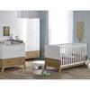 Chambre complète lit évolutif 70x140 - commode à langer - armoire 2 portes Bébé Provence Archipel - Blanc Chêne