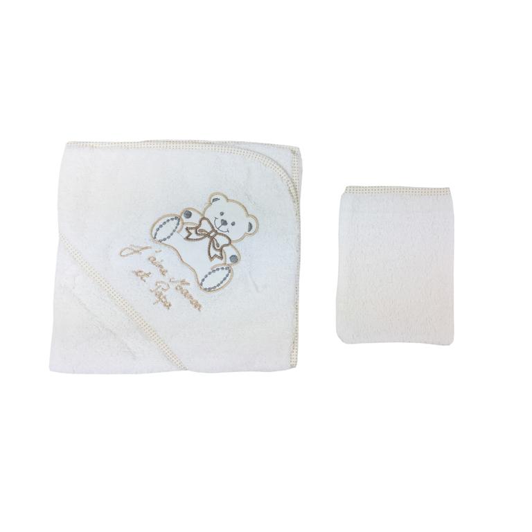 parure de bain pour b b blanc et beige pois motif nounours j 39 aime maman et papa le bain. Black Bedroom Furniture Sets. Home Design Ideas