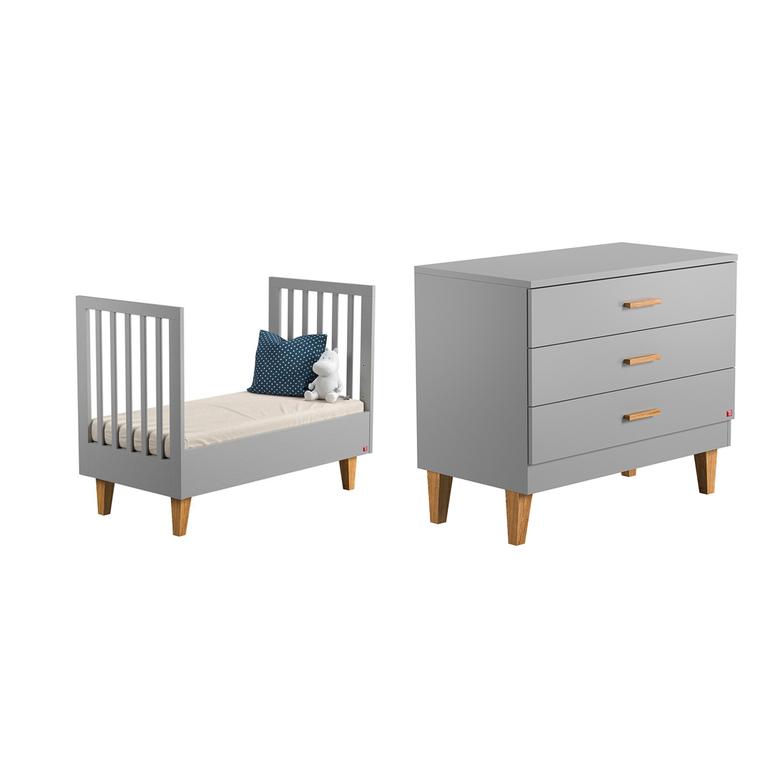 lit volutif 70x140 et commode langer vox lounge gris. Black Bedroom Furniture Sets. Home Design Ideas
