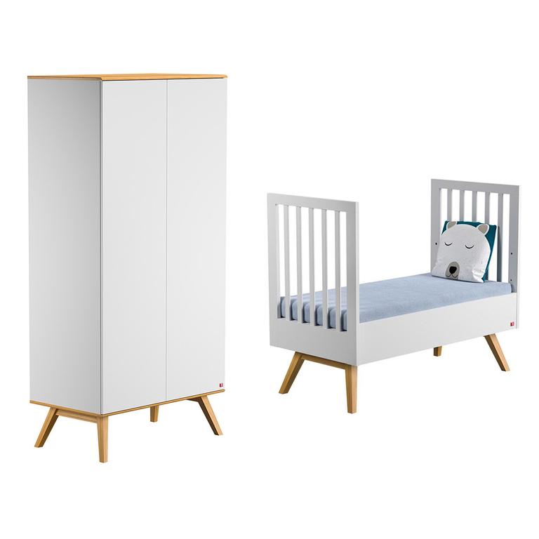 lit volutif 70x140 et armoire 2 portes vox nature blanc. Black Bedroom Furniture Sets. Home Design Ideas