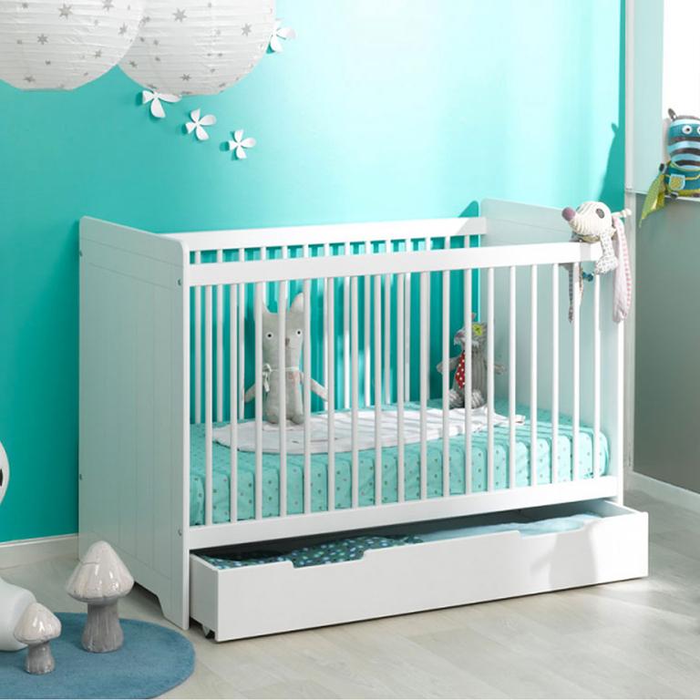 tiroir de lit loupiot oslo blanc lits tiroir de lit tendresse de b b. Black Bedroom Furniture Sets. Home Design Ideas