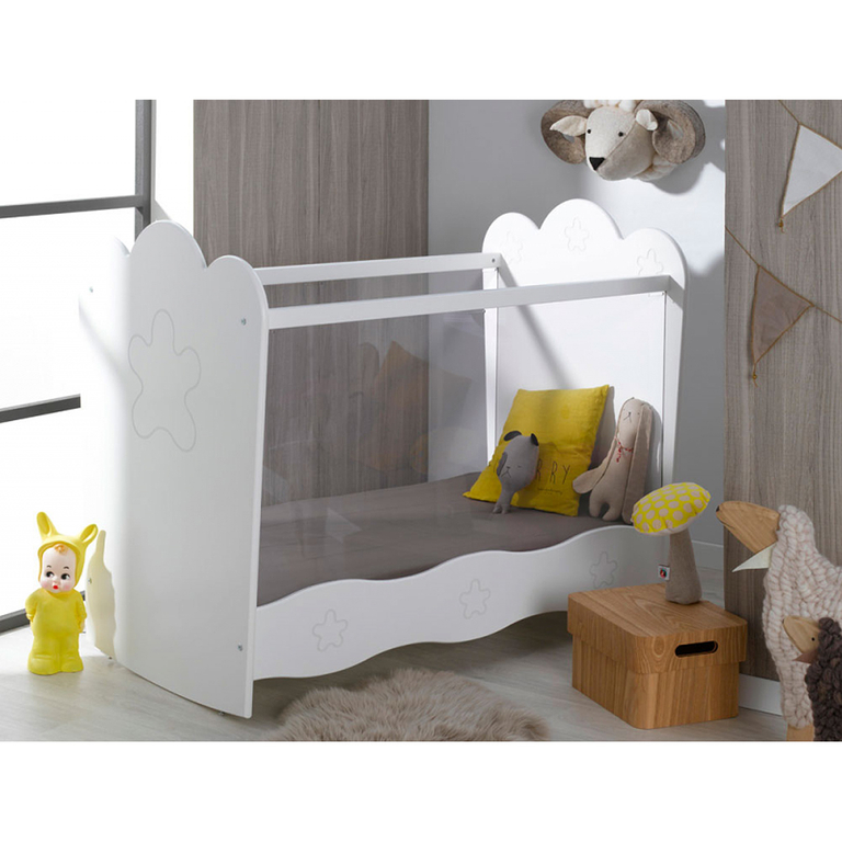 lit b b plexiglas 60x120 b b provence lin a blanc. Black Bedroom Furniture Sets. Home Design Ideas