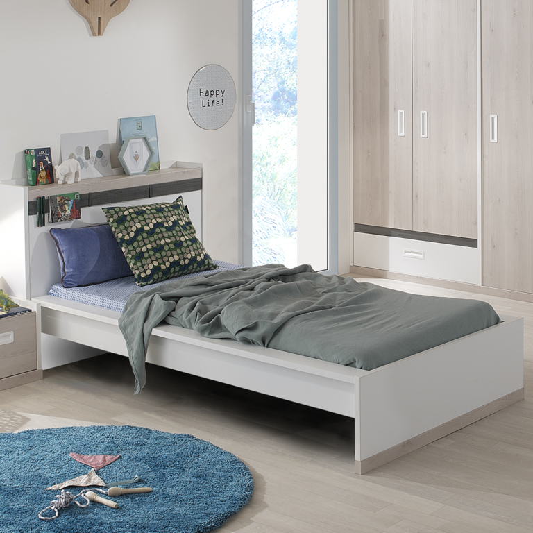 lit junior 120x200 gami tiago blanc bois lits lit. Black Bedroom Furniture Sets. Home Design Ideas