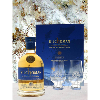 KILCHOMAN THE MACHIR BAY GIFT PACK ISLAY SINGLE MALT WHISKY + 2 VERRES 70cl 46° à 58€