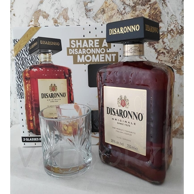COFFRET AMARETTO DISANNORO ORIGINALE  70cl 28°+ 2 VERRES à 30€
