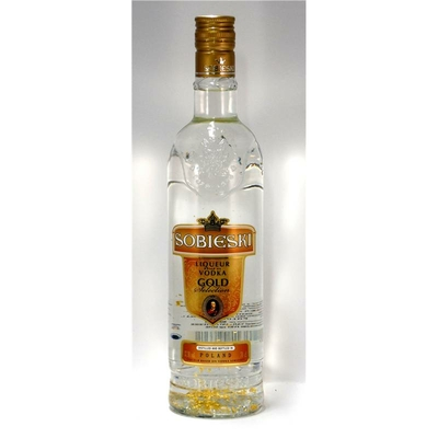 SOBIESKI GOLD 70cl   37,5° POLOGNE  FLAVOURED CARAMEL PREMIUM VODKA AUX PAILLETTES D'OR