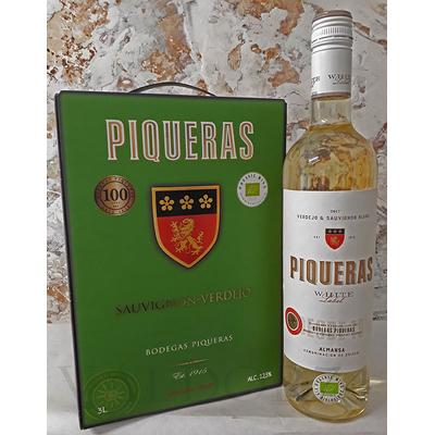 PIQUERAS WHITE LABEL ALMANSA 2017  Vin Blanc Bio d'Espagne  3L
