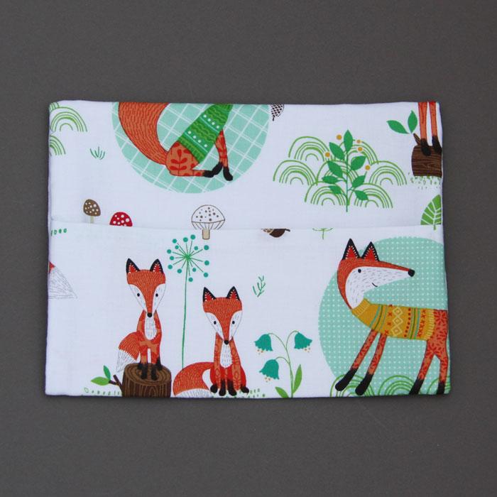Serviette de cantine enfant lastique les beaux renards et pochette - Pochette serviette de table ...