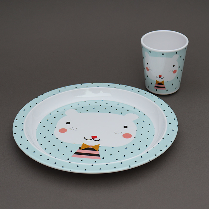 grande assiette creuse pour enfants sans bpa ours bleu a table vaisselle pour enfants lilooka. Black Bedroom Furniture Sets. Home Design Ideas