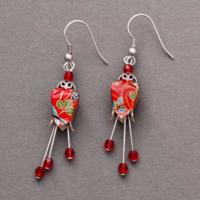 Boucles d'oreilles origami pistils rouges Terre de passion