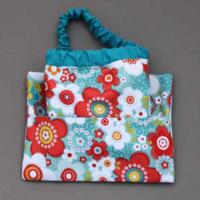 Lot serviette de table enfants cou élastiqué Fleurs et sa pochette assortie - Lilooka