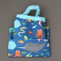 Serviette de cantine élastique Animaux marins et sa pochette assortie Lilooka