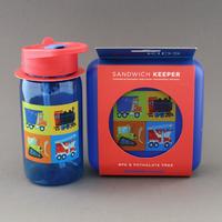 Lot grande gourde et boite à goûter Véhicules sans BPA Crocodile Creek pour enfant