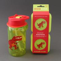Lot grande gourde et deux boites à goûter sans BPA* Dinosaure T-Rex assorties Crocodile Creek