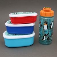 Lot 3 boites à goûter - déjeuner et gourde enfant Pingouins sans BPA Tyrrell Katz