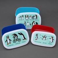 Lot 3 boites à goûter ou déjeuner enfants sans BPA Pingouins Tyrrell Katz