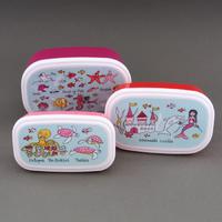 Lot 3 boites à goûter ou déjeuner enfants sans BPA Sirènes Tyrrell Katz