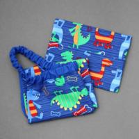 Serviette de table enfants cou élastiqué bleue Dinosaures et sa pochette assortie - Lilooka