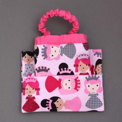 Serviette de table enfants cou élastiqué Princesses roses et sa pochette assortie - Lilooka
