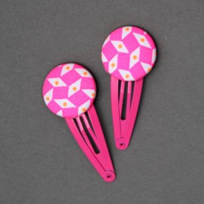 Duo de barrettes Petit Pan motif Pépins rose fluo