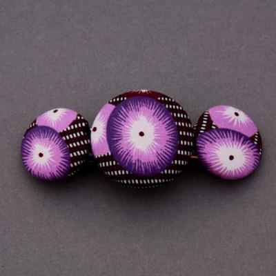 Grande barrette femme coton coquelicot violet Petit Pan Lilooka
