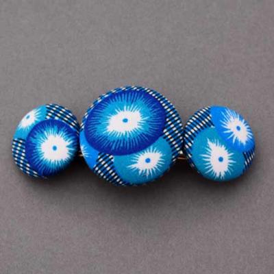 Grande barrette femme coton coquelicot bleu Petit Pan Lilooka