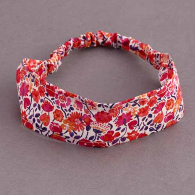 Bandeau cheveux enfant en Liberty Kaylie rouge orange